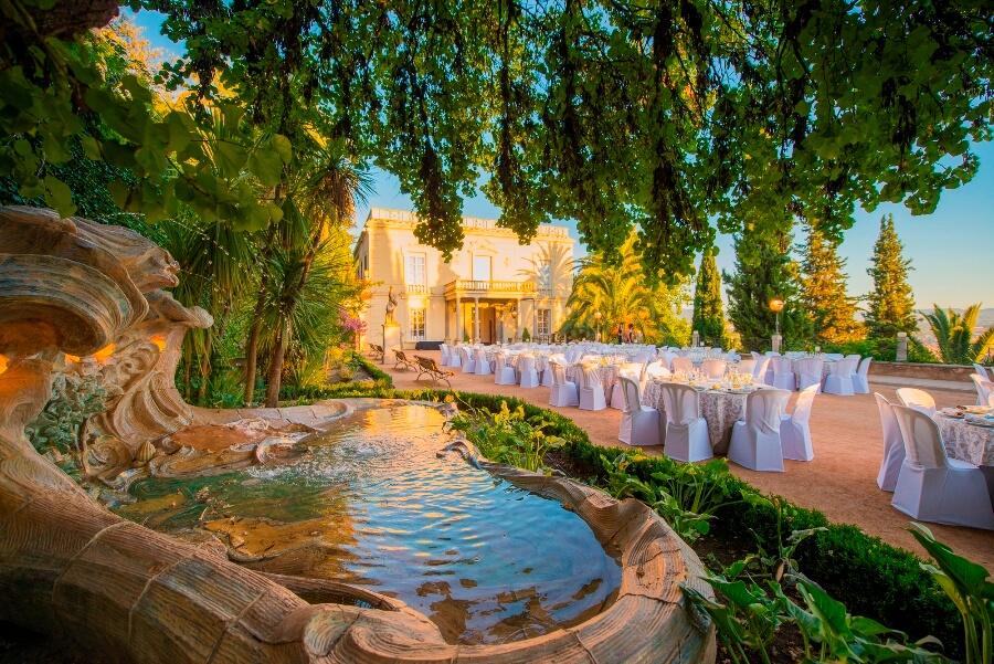 Fuente y montaje de banquete para boda en Carmen de los Mártires