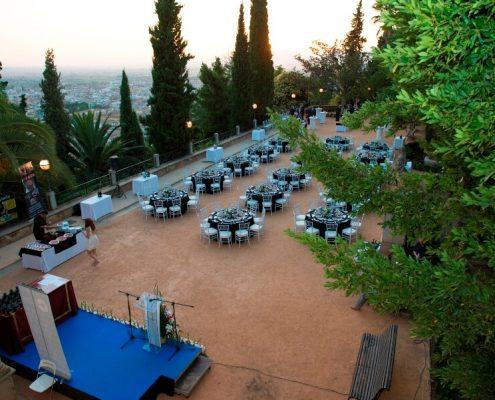 Vista del montaje de la cena de gala