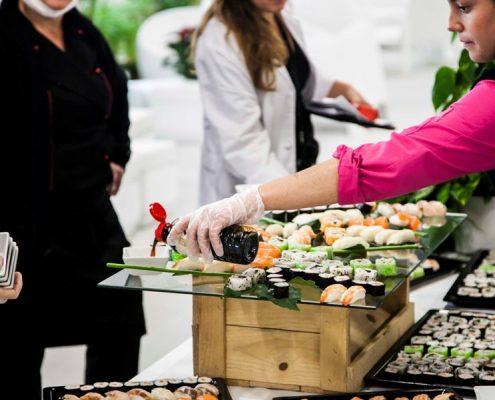 Preparación de zona buffet